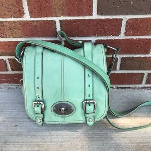 Fossil Maddox Green Leather Crossbody